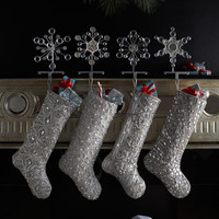Silver Bead Christmas Stockings