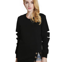 Black Cut Out Sleeve Layering Chain Detail Split Sweatshirt