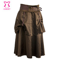 Brown Satin With Leather Buckle 2 Layers Long Steampunk Skirt Sexy Gothic Skirts For Women Matching Corset Burlesque Clothing