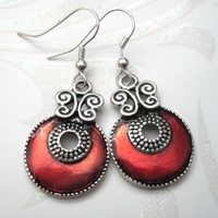 Enameled Asian Red Disc Dangle Earrings