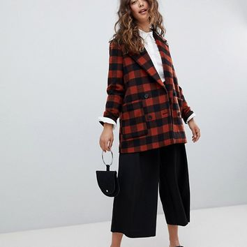 Monki Checked Double Breasted Jacket | ASOS