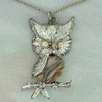 Owl with Abalone Belly Pendant Necklace Pearl Eyes Figural Vintage Jewelry