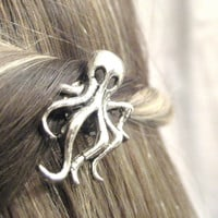 Octopus Hair Clip - Silver Octopus Jewelry - Nautical Hair Accessories - Bobby Pin Hair Accessory