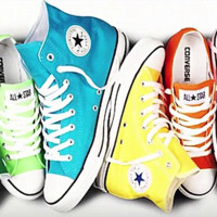 """""""Converse"""" Fashion High tops Wine red Canvas Flats Sneakers Sport Shoes Light blue Yellow"""