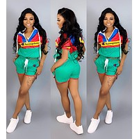 Champion Newest Popular Woman Personality Print Short Sleeve Hoodie Top Shorts Set Two Piece Green
