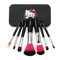 Hot Pro Hello Kitty Makeup Cosmetic Brush 7PCS Set Kit Iron Mini Professional Facial Brushes Metal Box Black/Pink Cute Gift