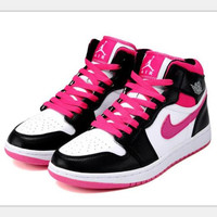 Nike  Air Jordan Retro 1 Hight Tops Contrast Sports shoes Black white pink hook H-CSXY