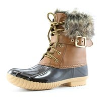Women's DailyShoes Snow Booties Up Ankle Buckle Duck Padded Mud Rubber Rain boots