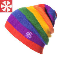CaiZhongHai B3 Colorful Jacquard Winter Hats High quality Rainbow Color Stripes knit Beanies For Women & Men Ski Caps skullies