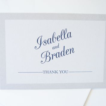 Navy and Silver Thank You Cards -  DEPOSIT
