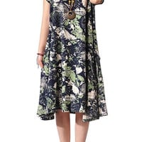Green Short Sleeve Pleated Floral Dress