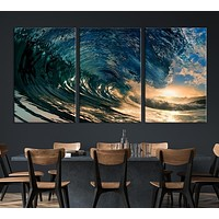 The Waves are Turning Like Circle Canvas Print MC75