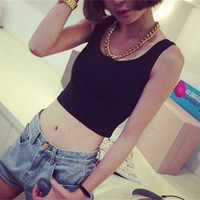 Women Tank Tops U Crop Top Casual Tank Tops Strap Women's Sleeveless Vest # 72971