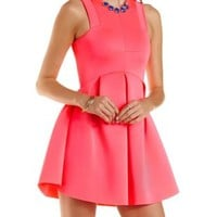 Architectural Pleated Skater Dress by Charlotte Russe