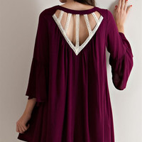 Cut Out Back Swing Dress - Wine