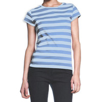 Womens Blue Striped Junior T-Shirt Stripe Cap Sleeve Top S M L Halloween Tee NEW