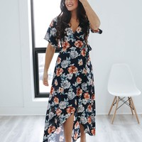 Easy Going Wrap Maxi Dress - Navy