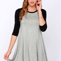 Swing Batter Batter Black and Grey Swing Dress