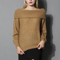 Slouchy Off-shoulder Sweater in Tan