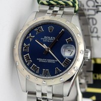 Rolex Datejust Lady 31mm Blue Roman Gold & Steel 178344 Diamond Bezel