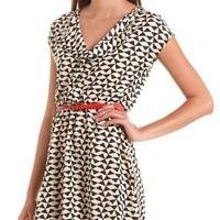 Belted Geo Print A-Line Dress: Charlotte Russe