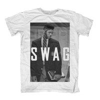 Fresh Prince SWAG T Shirt S M L XL Tie On Head Black and White Prince Of Bel Air Tee Cool Vintage Retro Will Smith Hype Swag One Influence