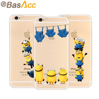 2015 4.7 inch Minions Phone Case for iPhone 6 6s with 19 Styles Despicable Me Yellow Minions Design Silicone Transparent Cover