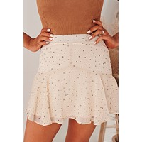 """Land Among Stars"" Flounce Skirt (Taupe Brown Star)"