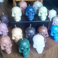 Skull Candle Wax Skull HUGE 1 lb/16 oz 5.5 x 4 in. Available in your choice of color and scent.