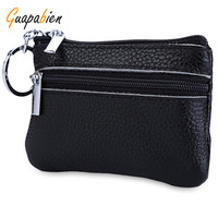 Guapabien Simple Unisex Wallets Money Holder Case Leather Double Zippers Change Purse Women Leather Small Coin Purse Key Ring