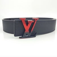 LV Louis Vuitton Fashion Men Women Smooth Buckle Leather Belt