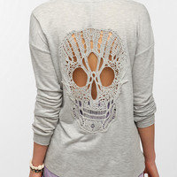 Urban Outfitters - Sparkle & Fade Skull Lace-Back Sweatshirt