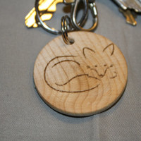 Minimalistic Natural Wood Fox Keychain ~ Woodland Creatures ~ Nature ~ Laser Engraved