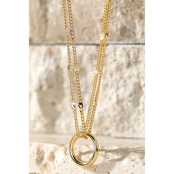 Delicate Small Floating Circle Pendant Necklace