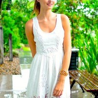 White Sleeveless Dress with Crochet and Embroidery Detail