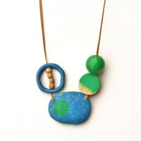 Abstract blue green necklace, whimsical & contemporary, mixed media jewelry
