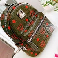 MCM New fashion more letter print  leather backpack bag women