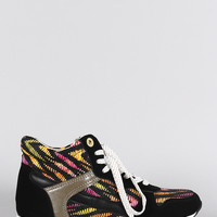 Bamboo Woven Round Toe High Top Lace Up Sneaker