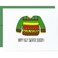 Ugly sweater christmas card - funny naughty happy holidays merry christmas happy ugly sweater season xmas green red yellow gold