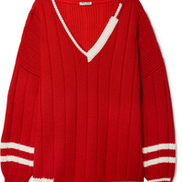 Miu Miu - Oversized striped ribbed wool sweater