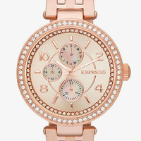 PAVE BEZEL MULTI-FUNCTION WATCH - ROSE GOLD from EXPRESS