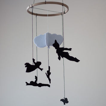 Peter Pan inspired Baby Room Decor - Nursery Decor - Felt Mobile - Kids Room Decor - Baby Crib Mobile - Felt Decoration