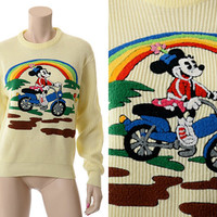 Vintage 80s Disney Minnie Mouse Rainbow 3D Sweater 1980s Minnie Riding Bicycle or Motorcycle Novelty Disneyland Character Graphic Sweater
