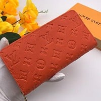 LV Louis Vuitton embossed logo long coin purse card holder bag