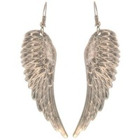 "2 1/2"" Nickel Free Angel Wing Earrings, Quality Made in USA!, Large Earrings (2-1/2"") in Silver Tone"