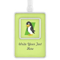Cute penguin cartoon silver plated framed ornament