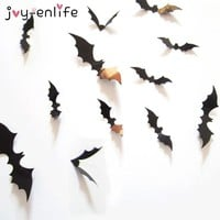 JOY-ENLIFE Halloween Decoration 12pcs 3D Black PVC Bat DIY Decor Wall Sticker Halloween Party Bar Decals Scary Halloween Party
