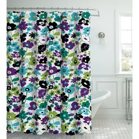 Creative Home Ideas Oxford Weave Textured 13-Piece Shower Curtain with Metal Roller Hooks, Stencil Floral Jewel