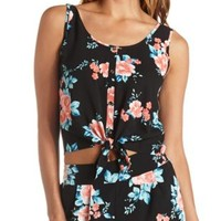 Button-Up Tie-Front Floral Crop Top by Charlotte Russe - Black Combo