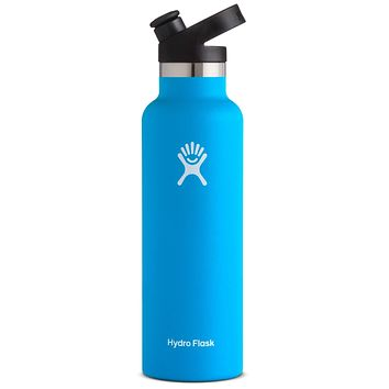 Hydro Flask Stainless Steel Vacuum Insulated Sports Water Bottle with Cap, Pacific, 21 Ounce 21 oz (621 ml) Standard Mouth